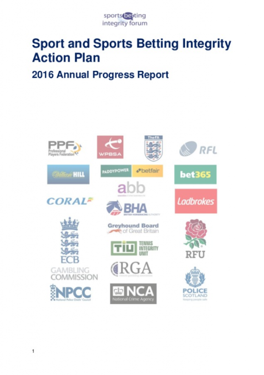 Sport and Sports Betting Integrity Action Plan 2016 Annual Progress Report FINAL