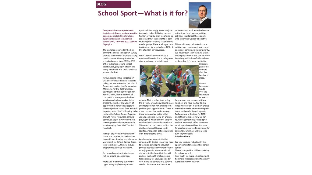 School Sport - What is it for?