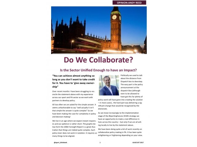 Are We Good enough at Collaboration in the Sector?