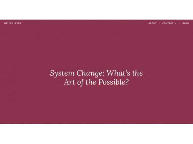 System Change - What's the Art of the Possible